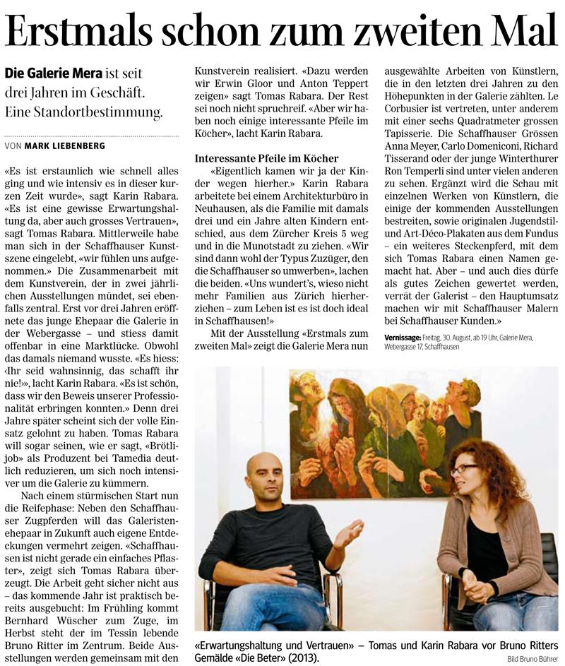 Schaffhauser Nachrichten - Ausgabe vom 30.08.2013