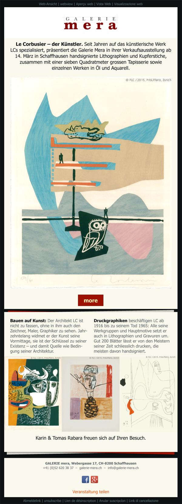 Le Corbusier der Künstler Ausstellung 14 März bis 2 Mai